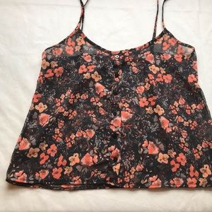 BRANDY MELVILLE button up sheer floral cami O/S